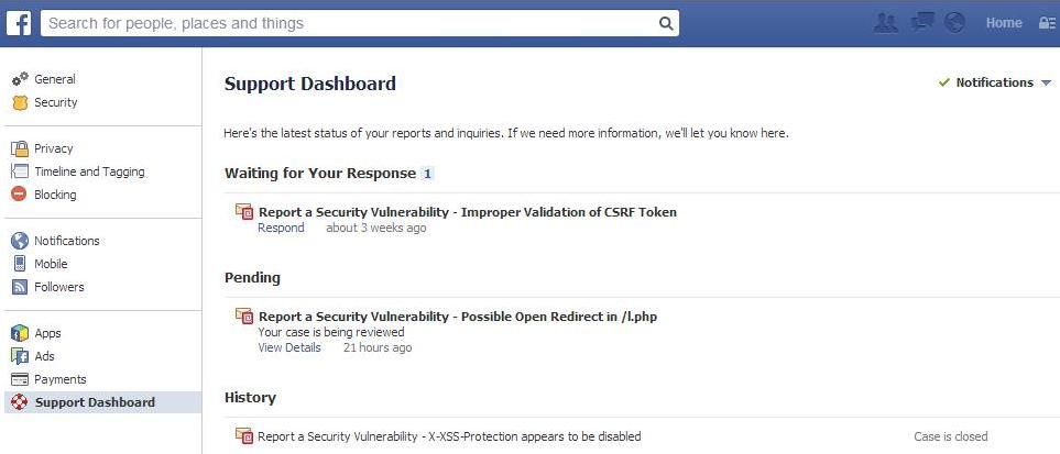 Facebook-Bounty-Support-Dashboard
