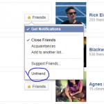 Facebook Unfriend Button