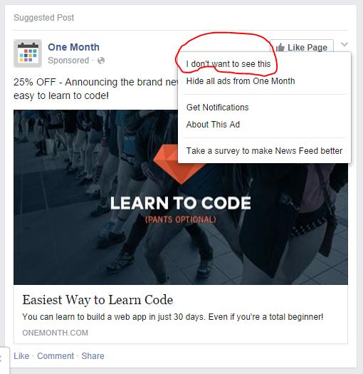 Stop seeing Facebook post