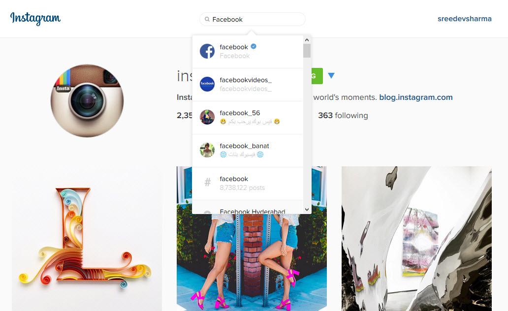 Instagram Web Search