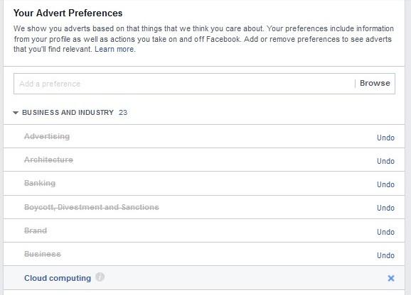 Facebook ad prefs