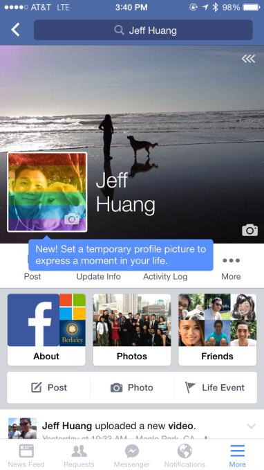 Facebook temporary profile picture