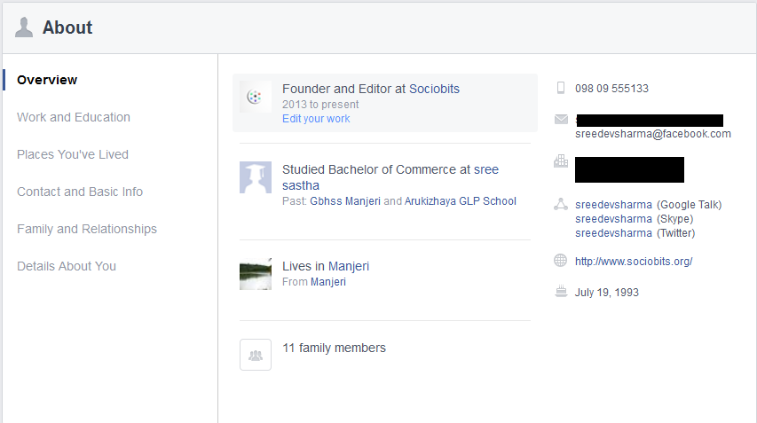 Facebook New About Section